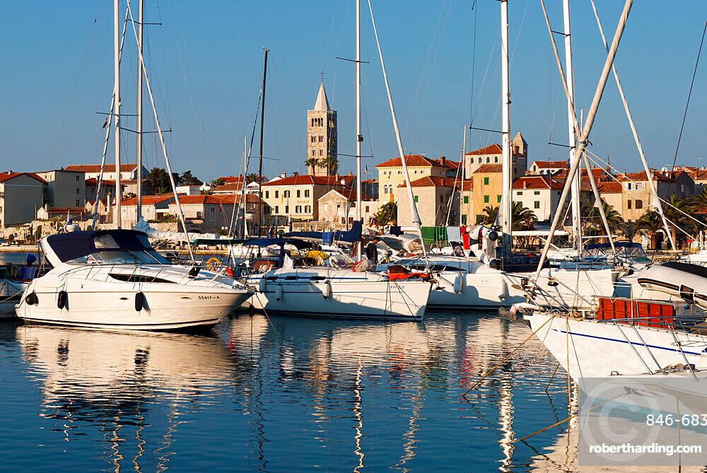 View over old town and Marina, Rab Town, Rab Island, Kvarner Gulf, Croatia, Adriatic, Europe