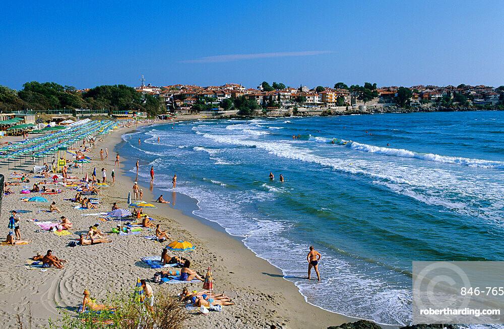 View over beach, Sozopol, Black Sea coast, Bulgaria, Europe