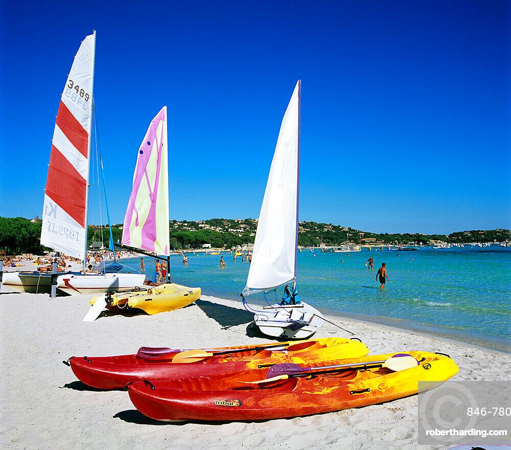Watersports on beach, Plage de Santa Giulia, southeast coast, Corsica, France, Mediterranean, Europe
