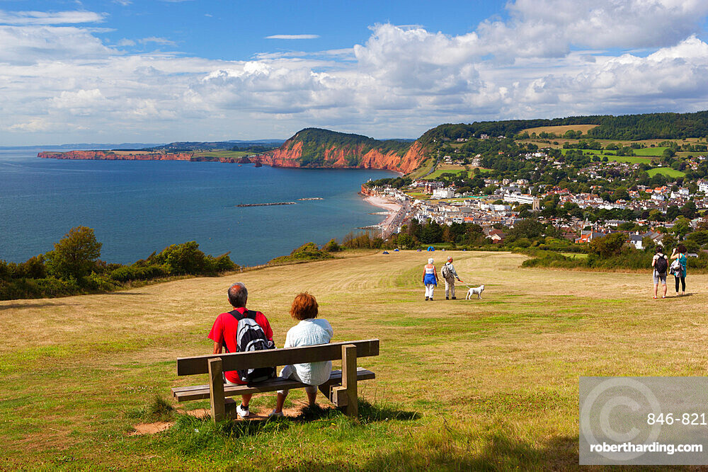 View from Salcombe Hill to town and red cliffs, Sidmouth, Devon, England, United Kingdom, Europe