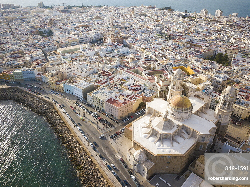Aerial view of Cadiz Cathedral, by drone, Cadiz, Andalucia, Spain, Europe