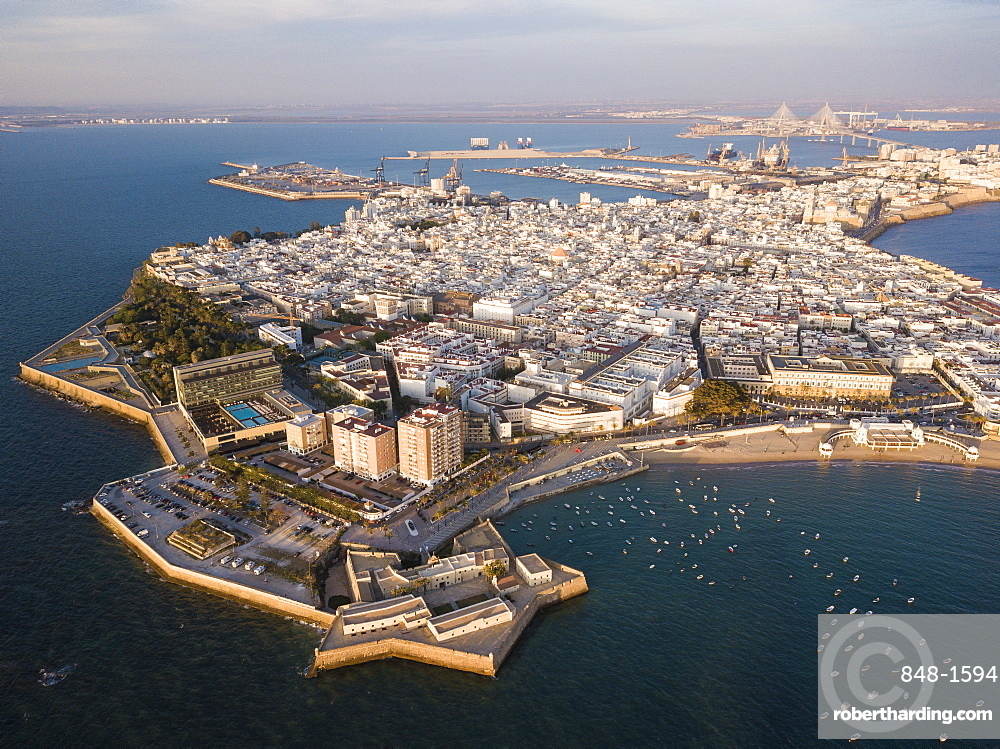 Aerial view, by drone, of Cadiz, Andalucia, Spain, Europe