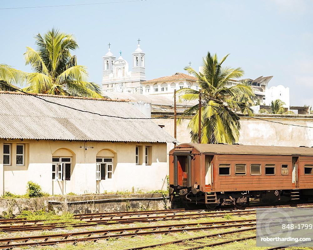 Old Train at Galle Train Station, Galle, South Coast, Sri Lanka, Asia