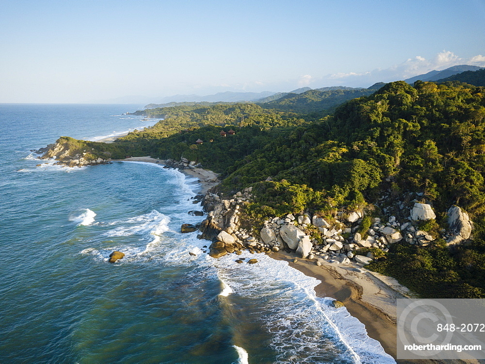 Aerial view by drone of Tayrona National Park, Magdalena Department, Caribbean, Colombia, South America