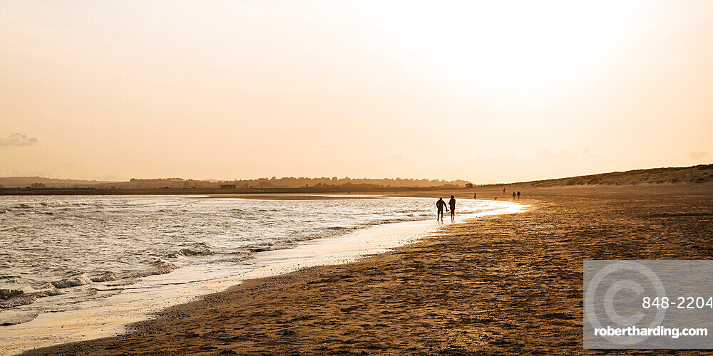 Camber Sands at sunset, East Sussex, England, United Kingdom, Europe