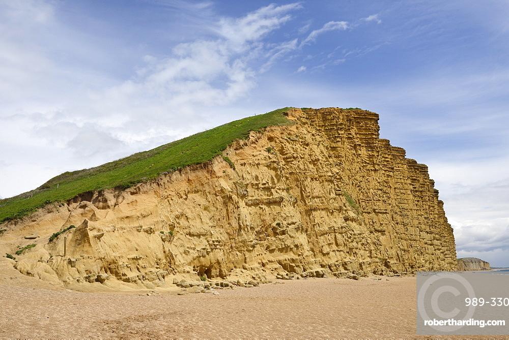 Sandstone cliffs at West Bay, Jurassic Coast, UNESCO World Heritage Site, Bridport, Dorset, England, United Kingdom, Europe