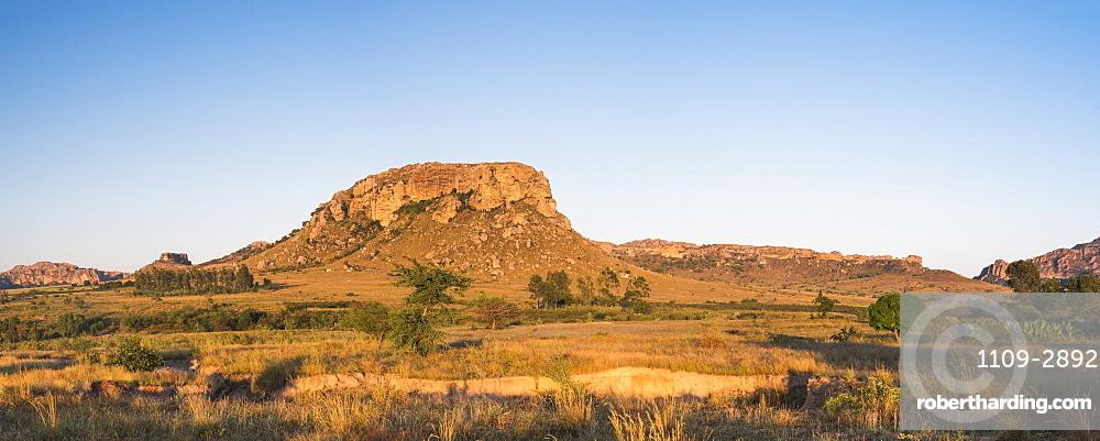 Mountains of Isalo National Park at sunrise, Ihorombe Region, Southwest Madagascar, Africa