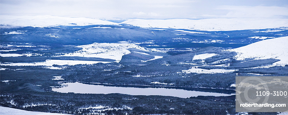 Loch Morlich covered in snow in winter, Aviemore, Cairngorms National Park, Scotland, United Kingdom, Europe