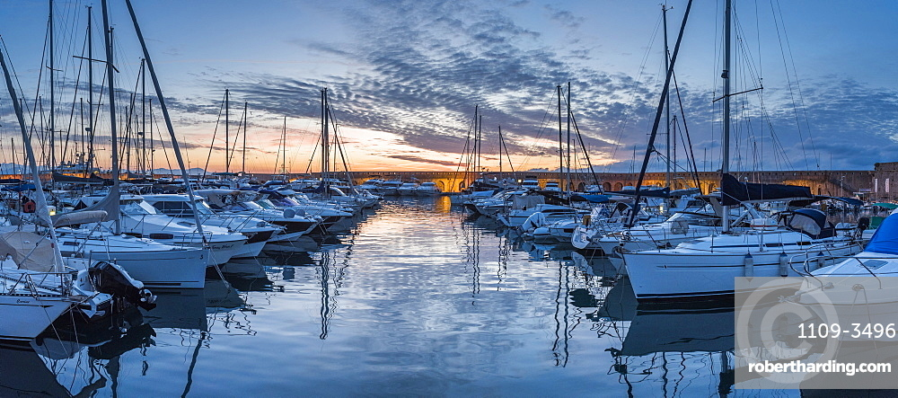 Antibes Harbour at sunrise, Provence-Alpes-Cote d'Azur, French Riviera, France, Mediterranean, Europe