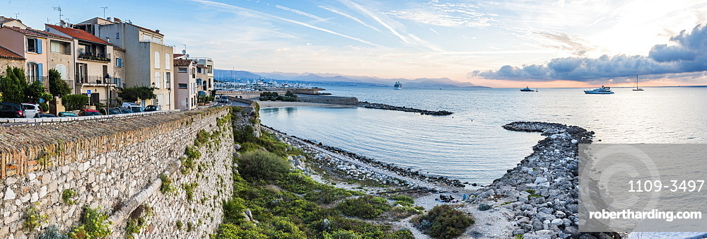 Antibes city walls at sunrise, Provence-Alpes-Cote d'Azur, French Riviera, France, Mediterranean, Europe