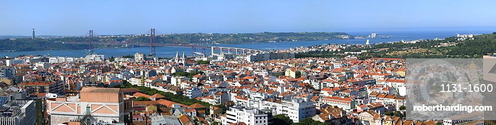 Panorama over Lisbon and 25th April Bridge, Lisbon, Portugal