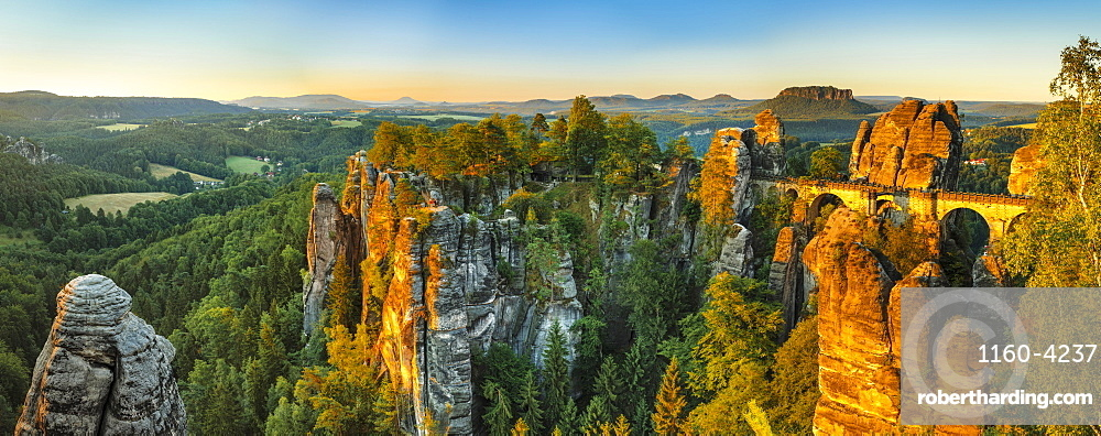 View from Bastei Bridge at sunrise to Lilienstein Mountain, Elbsandstein Mountains, Saxony, Germany, Europe