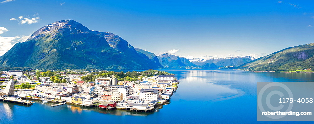 Aerial panoramic of Andalsnes town and fjord, Rauma municipality, More og Romsdal county, Norway (drone)
