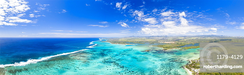 Turquoise coral reef meeting the waves of the Indian Ocean, aerial view, Poste Lafayette, East coast, Mauritius, Indian Ocean, Africa