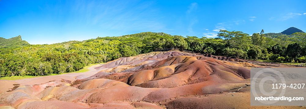 Panoramic of The Seven Colored Earth Geopark, volcanic geological formations, Chamarel, Black River, Mauritius, Indian Ocean, Africa