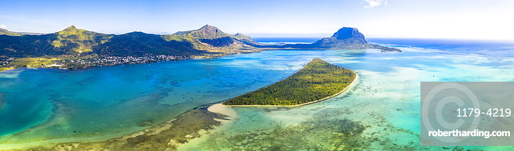 Aerial panoramic of Le Morne peninsula and Ile aux Benitiers island surrounded by reef, La Gaulette, Mauritius, Indian Ocean, Africa
