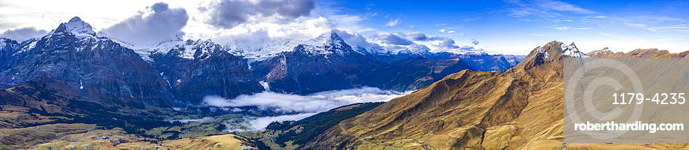Aerial panoramic of Eiger and Schreckhorn in autumn from First and Grindelwald, Canton of Bern, Switzerland
