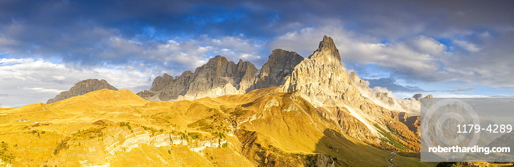 Aerial panoramic of Cimon della Pala during the autumn sunset, Pale di San Martino, Rolle Pass, Dolomites, Trentino, Italy, Europe