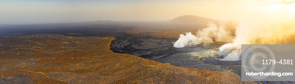 Panoramic of sunset over the fumarole of Erta Ale volcano, Danakil Depression, Afar Region, Ethiopia, Africa