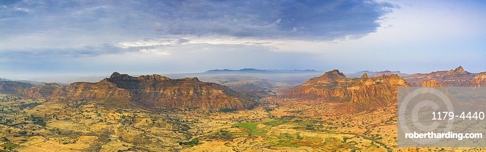 Aerial panoramic of Gheralta Mountains and Dugem, Tigray Region, Ethiopia, Africa (drone)