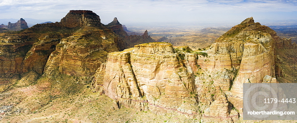 Aerial panoramic view of majestic Gheralta Mountains canyons and cliffs, Tigray Region, Ethiopia, Africa (drone)