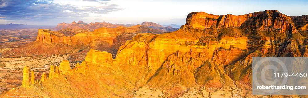 Sunset over red rocks of Gheralta Mountains, aerial view, Hawzen, Tigray Region, Ethiopia, Africa (drone)