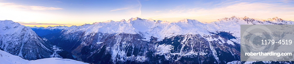 Snowy peaks of Valle Spluga at sunset, aerial view, Valchiavenna, Valtellina, Lombardy, Italy