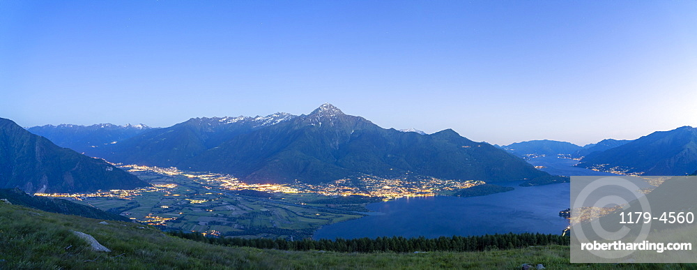 Panoramic of dusk over Lake Como, Alto Lario and lower Valtellina, Lombardy, Italian Lakes, Italy, Europe