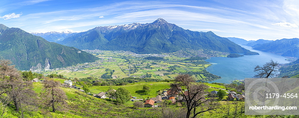 Panoramic of Lake Como and Alto Lario from the rural village of Bugiallo, Como province, Lombardy, Italian Lakes, Italy, Europe