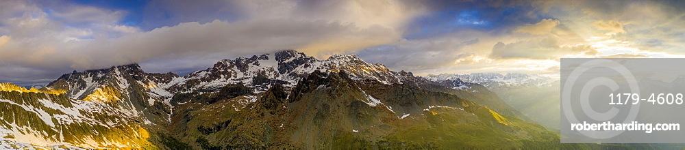 Aerial view of Monte Disgrazia and Bernina mountain range at dawn, Valmalenco, Valtellina, Lombardy, Italy