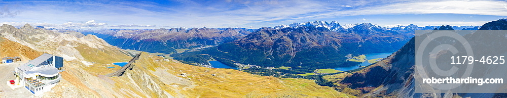 Aerial panoramic by drone of Piz Nair with lakes of St. Moritz and Silvaplana in the background, Engadine, Graubunden, Switzerland, Europe