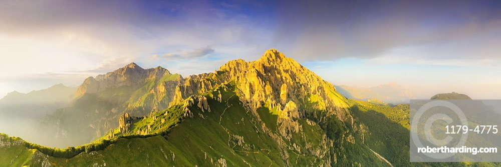 Panoramic of Rifugio Rosalba and Grigne group at sunset, aerial view, Lake Como, Lecco province, Lombardy, Italy, Europe
