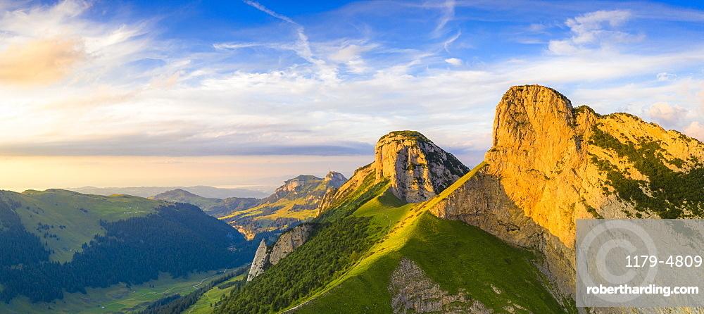 Overview of Staubern and Hoher Kasten mountains from Saxer Lucke at sunset, Appenzell Canton, Alpstein Range, Switzerland, Europe