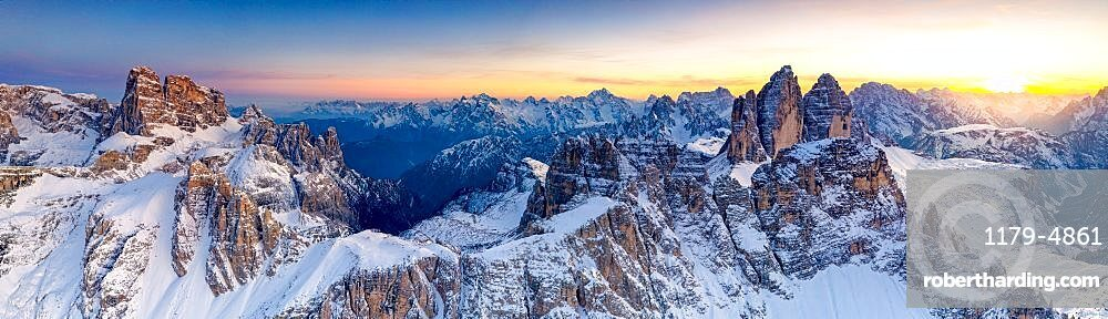 Sunset on the snow capped Tre Cime Di Lavaredo, Monte Paterno and Croda Dei Toni, Sesto Dolomites, South Tyrol/Veneto, Italy