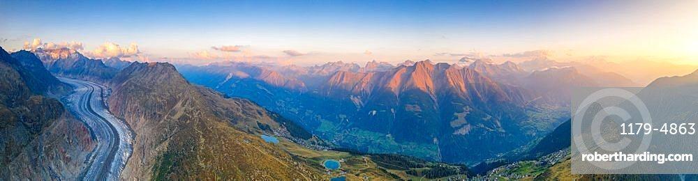 Panoramic of Aletsch Glacier, Bettmeralp and Riederalp at sunset, Bernese Alps, Valais canton, Switzerland