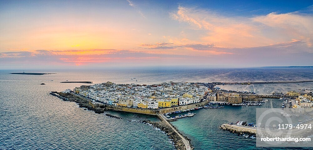 Aerial view of Gallipoli at sunset, Lecce province, Salento, Apulia, Italy