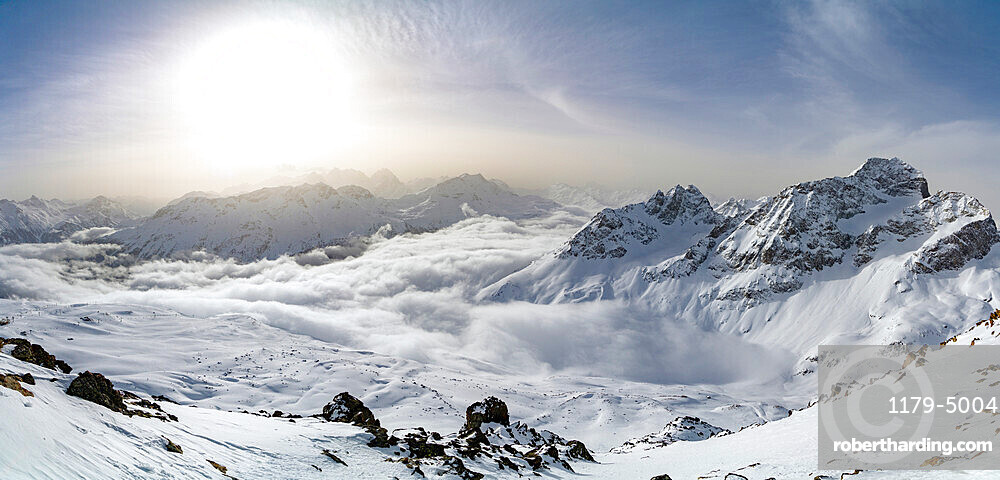 Panoramic of snow capped mountains of Upper Engadine from Piz Nair, canton of Graubunden, Switzerland, Europe