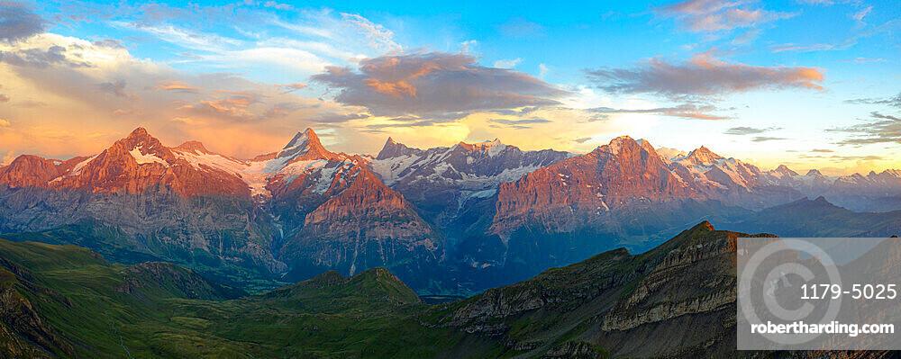 Aerial view of Wetterhorn, Schreckhorn, Finsteraarhorn, Eiger, Monch, Jungfrau mountains at sunset, Bernese Oberland, Switzerland, Europe