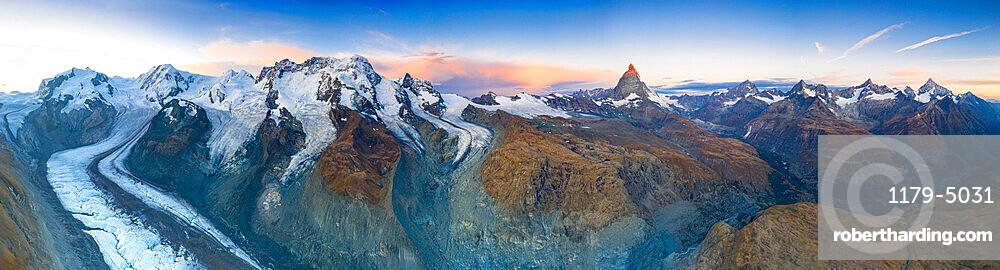 Aerial view of Gorner Glacier (Gornergletscher) and Matterhorn at dawn, Zermatt, canton of Valais, Switzerland, Europe