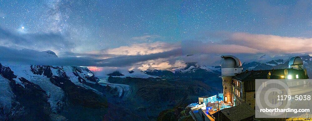 Stars over the snowcapped mountains and Kulmhotel Gornergrat, Zermatt, canton of Valais, Switzerland, Europe