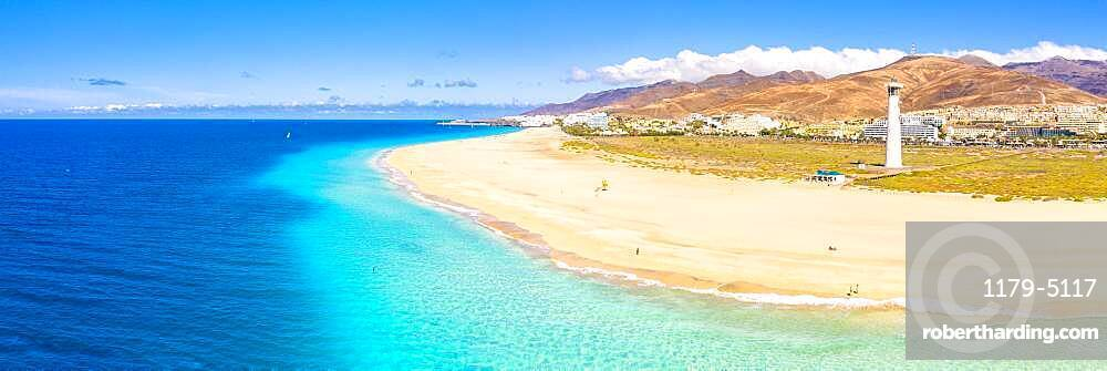 Aerial view of the white sand beach and lighthouse of Morro Jable, Fuerteventura, Canary Islands, Spain, Atlantic, Europe