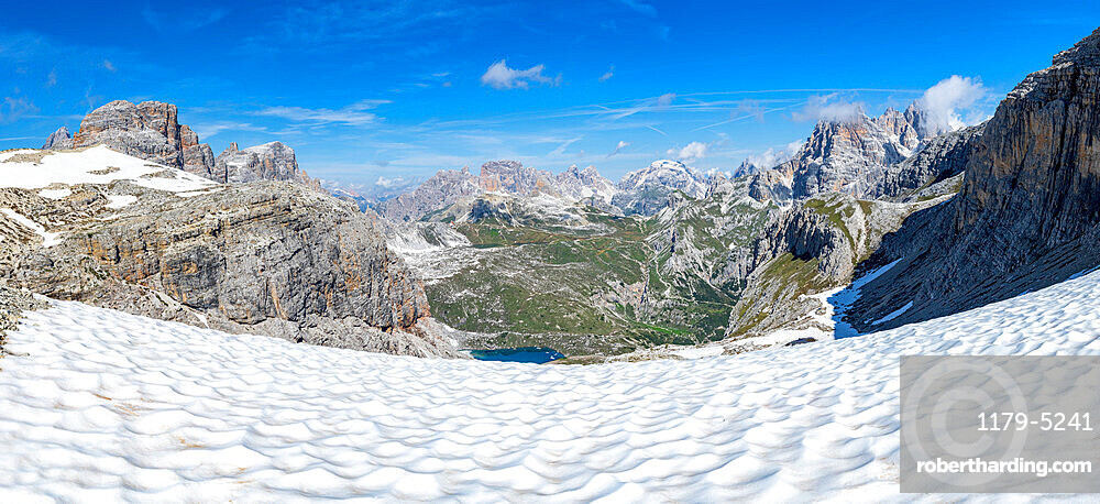 Panoramic of Forcella Dei Laghi mountain path leading to Rifugio Locatelli hut in summer, Sesto Dolomites, South Tyrol, Italy