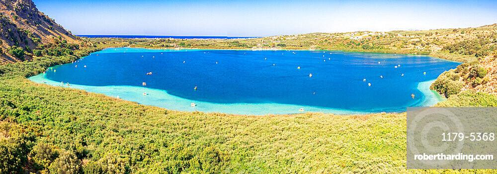Lake Kournas surrounded by green plants, Georgioupolis, Chania, Crete, Greece