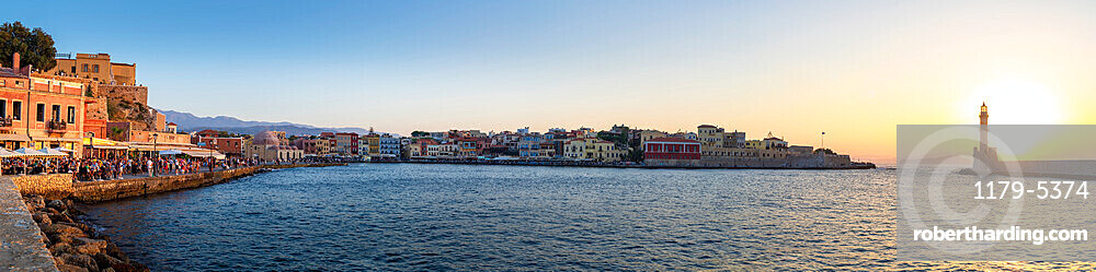 Lighthouse and Chania old town at sunset, Crete, Greece