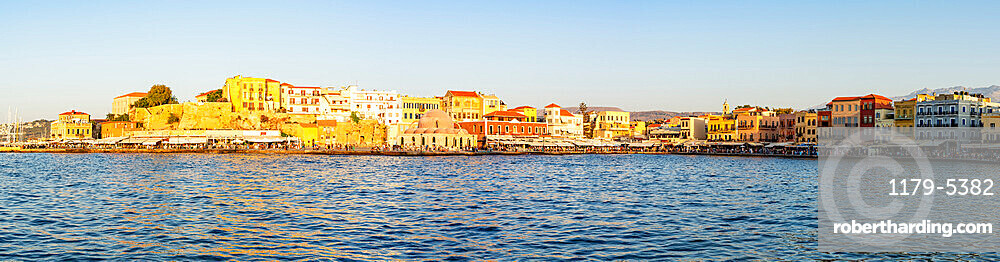 Panoramic of Chania old town and harbour at sunset, Crete island, Greece