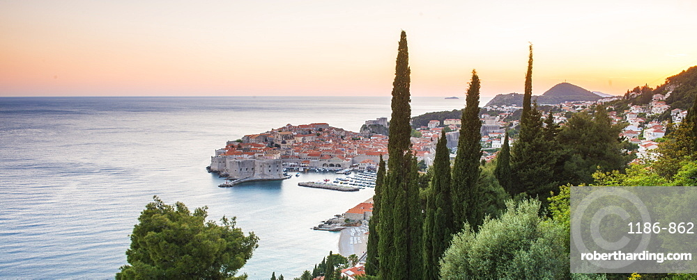Aerial view of the old town at dusk, Dubrovnik, Croatia, Europe