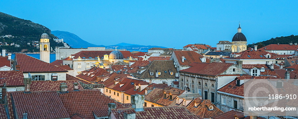 View of Dubrovnik from the city walls, UNESCO World Heritage Site, Dubrovnik, Croatia, Europe