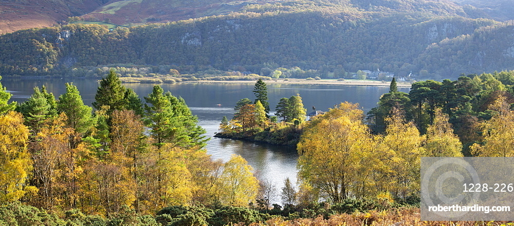 Autumn colours and sunshine over Brandlehow and Manesty wood, Derwent Water, Lake District National Park, UNESCO World Heritage Site, Cumbria, England, United Kingdom, Europe