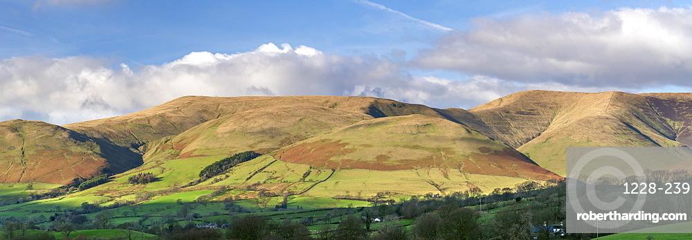 Panorama of The Howgill Fells near Sedbergh, Cumbria, England, United Kingdom, Europe