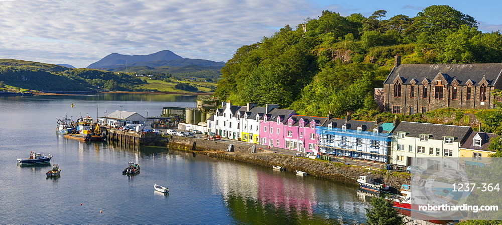 Panoramic view of Portree Harbour, Isle of Skye, Inner Hebrides, Highlands and Islands, Scotland, United Kingdom, Europe